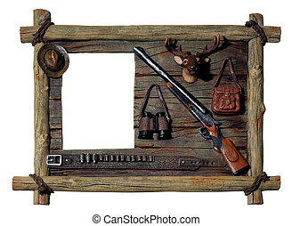 Decorative wooden picture frame Hunter theme - Decorative...