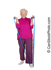 Pensioner exercising with strap - A cheerful elderly female...