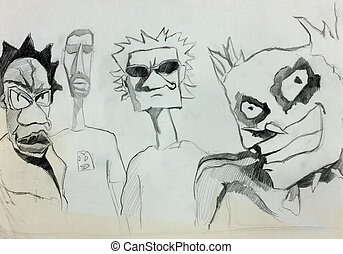 Cartoon Characters - Original b&w pencil hand drawn sketch...