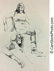 Sketch of a woman - Old,grunge original bw pencil and hand...