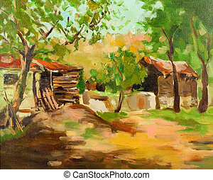 Country house - Original oil painting showing traditional...