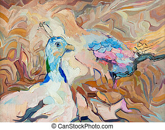 peacock and peahen - Original abstract oil painting of...