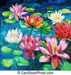 Water Lily - Original oil painting of beautiful water...