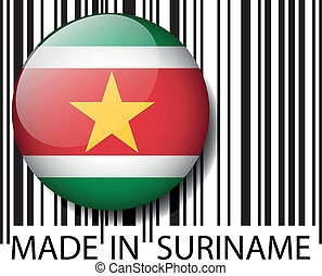 Made in Suriname barcode Vector illustration