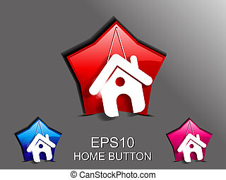 abstract glossy home icon vector illustration
