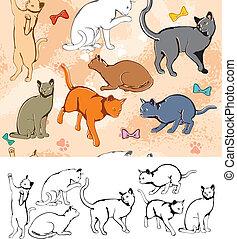 Seamless pattern: Cats