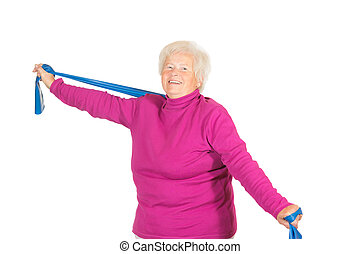 Happy senior doing exercises - Happy senior lady doing...