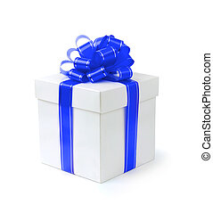 Fancy Gift Box - Fancy gift-box with blue ribbon bow...