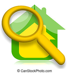 House under magnifying glass illustration over white...