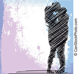 abstract sketch of couple kissing vector illustration