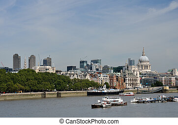 View from Waterloo Bridge to East