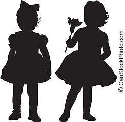 Silhouettes of kids - Silhouettes of two small girls