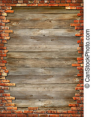 Brick wall grungy frame - Wooden boards background texture...