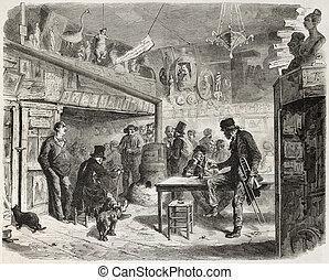Cabaret - Trombonist at the Lapin-Blanc, Parisian cabaret,...