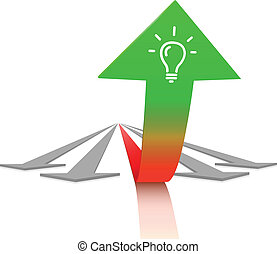Concept of growth and success. Large green arrow with lamp...