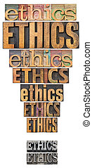 ethics exclamation point - ethics word abstract in a form of...