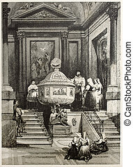 Old illustration of the Baptismal font in Palermo cathedral. Created by Leitch and Sands, published on Il Mediterraneo Illustrato, Spirito Battelli ed., Florence, Italy, 1841