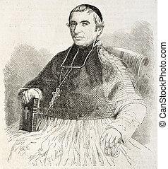 Porchez - Louis-Martin Porchez old engraved portrait,...