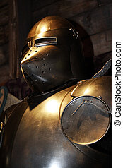 Detail of knights armor - Medieval warrior soldier metal...