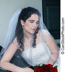 Daydreaming bride - Beautiful bride sits on black wicker...