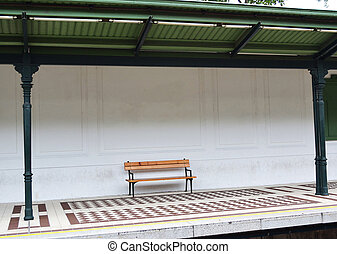 Bench at metro station
