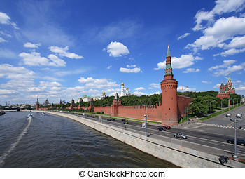 Moscow Kremlin over river