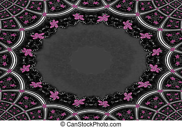 Fancy Oval Frame with Pink - Pale pink and grey pattern...