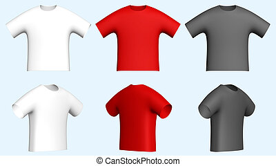 men t-shirts - 3d men t-shirts isolated on bright background...