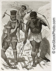 Ivory bearer - African ivory bearer old illustration....