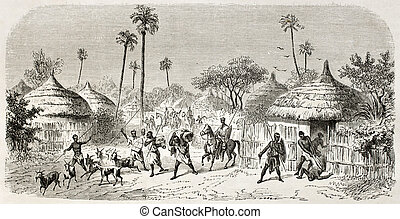 Raid in central African village, old illustration. Created...