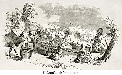 Burmese people travelling, old illustration. Created by...