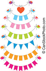 bunting flags with birds - bunting flags with cute baby...