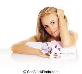 Attractive female in spa - Portrait of attractive female in...