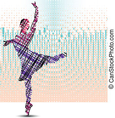 Sketch of dancing ballerina. Vector illustration