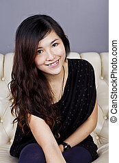 Asian woman smile with beautiful face