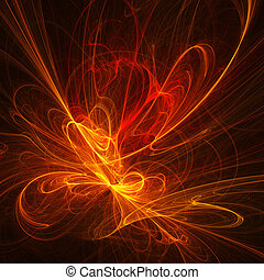 fire flower rays - abstract chaos fire circle flower rays on...