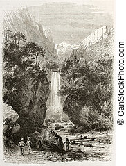 Druise falls - Druise waterfalls old view, France. Created...