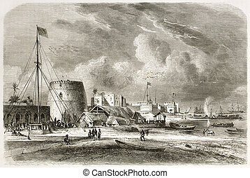 Port of Zanzibar city, old view. Created by De Berard and...