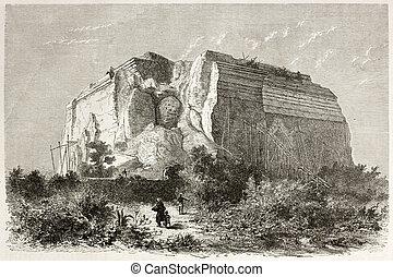 Mingun Pahtodawgyi old illustration, incompleted stupa...