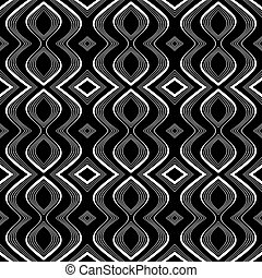 Seamless op art texture. Undulation illusion. Vector art.