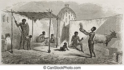 African dwelling - Central African dwelling old illustration...