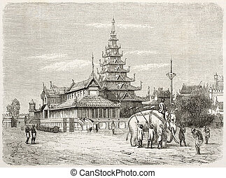 White elephant in Amarapura and royal palace (then...