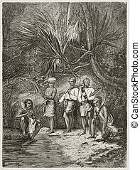 Burmese people - Burmese men in the forest old illustration....