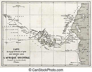 East Africa - Itinerary old map from Zanzibar to Kazeh....