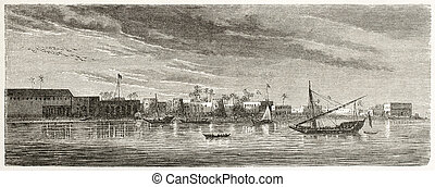 Zanzibar city, old view from the sea. Created by De Berard...