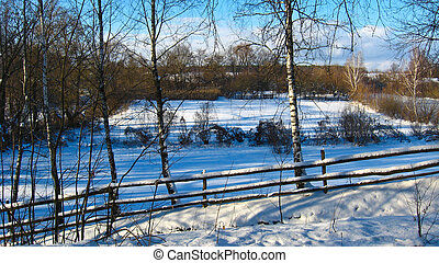 Winter rural landscape - The image of beautiful winter rural...
