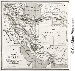 Persia old map Created by Vuillemin, published on Le Tour du...