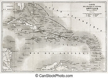 Antilles old map. Created by Vuillemin and Erhard, published...