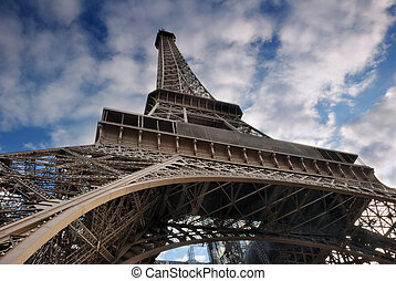 Sights. - The Eiffel Tower from below upwards. Paris,...