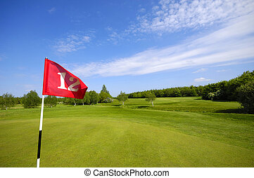 Flag on golf course - Flag on a golf course with green grass...